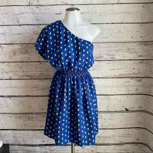 Blue off shoulder dress with yellow boats